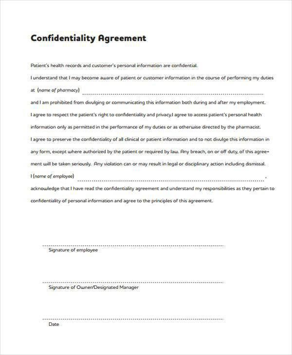 8+ Confidentiality Agreement Form Samples   Free Sample, Example .