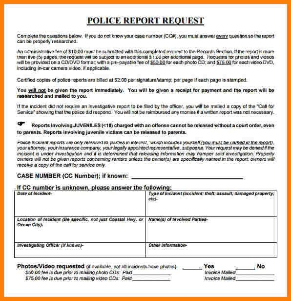 8+ sample police report | letter format for