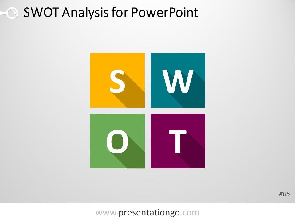 PowerPoint SWOT Analysis Matrix with Flat Design