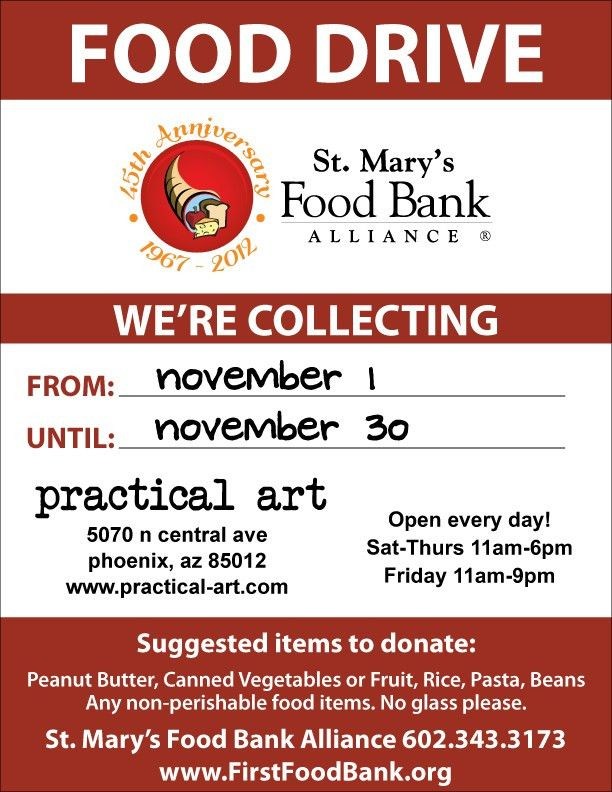 No-Tax November: A Food Drive for St. Mary's Food Bank – Practical Art