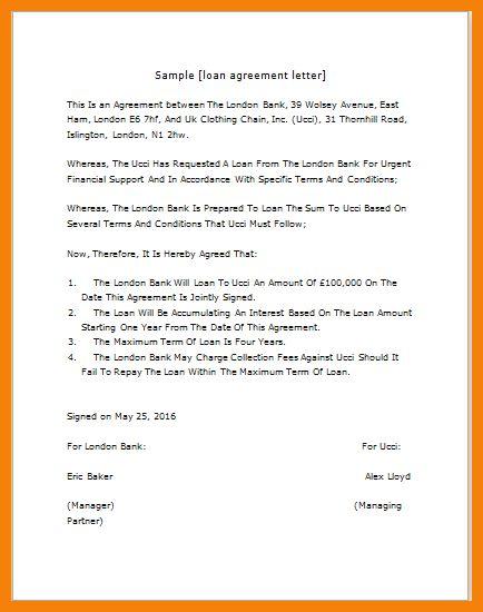 Loan agreement letter Sample Letters - oukasinfo - loan agreement sample letter