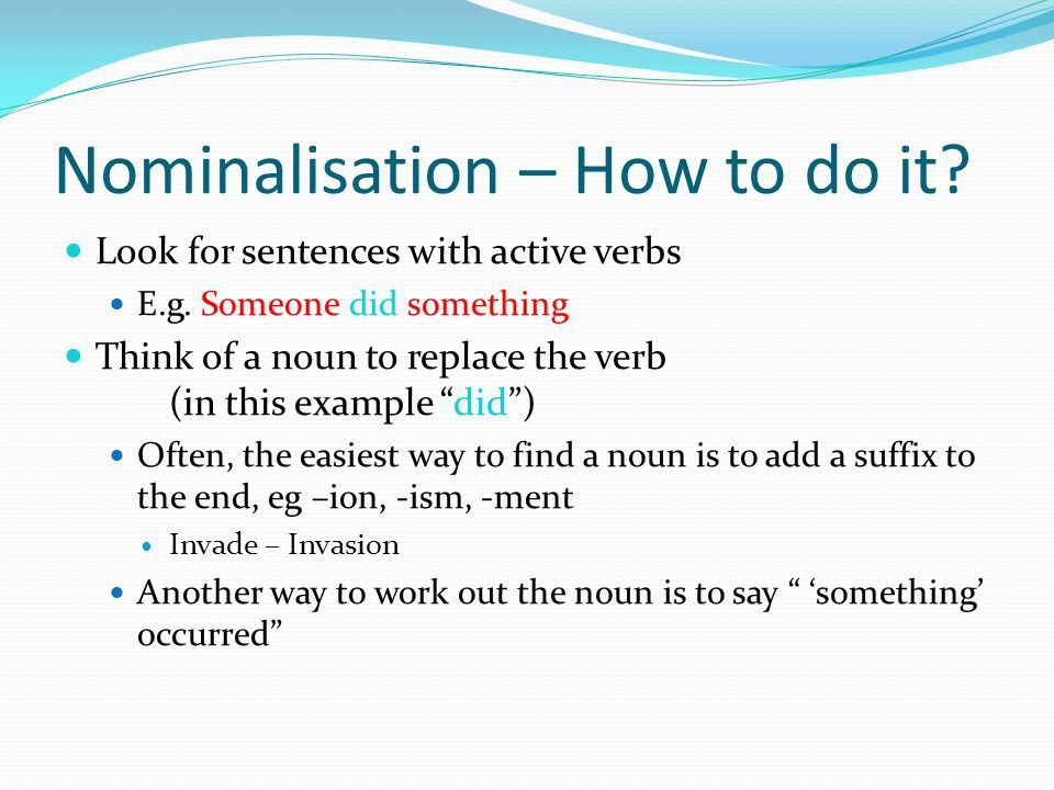 Changing verbs or other words to nouns - ppt video online download