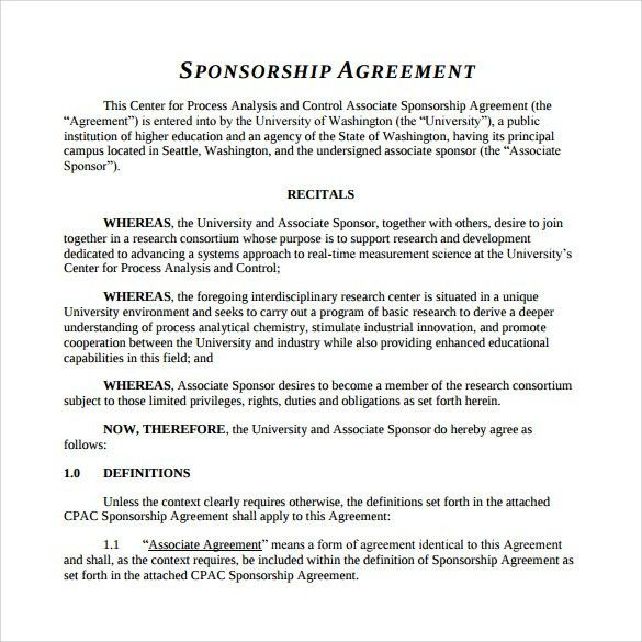 Sample Sponsorship Agreement - 12+ Documents in PDF, Word