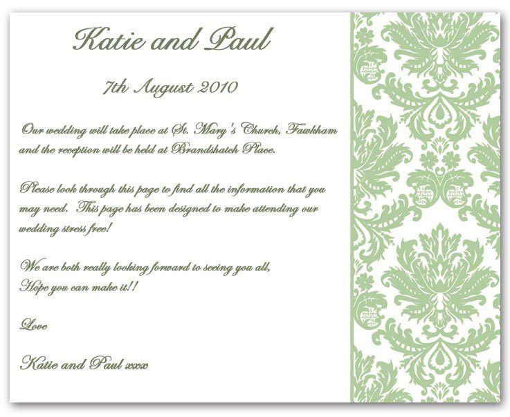 Wedding Invitation Wording, Information example 1 :: contemporary ...