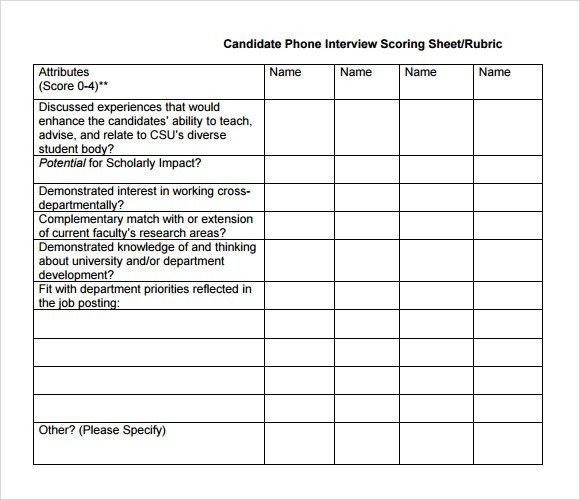 Interview Score Sheet Template  Resume Template Sample