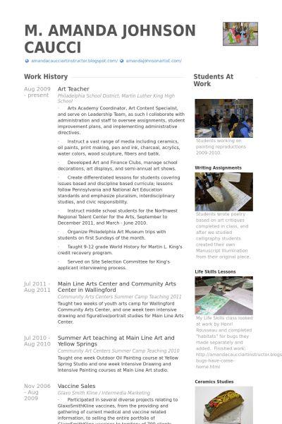 Art Teacher Resume samples - VisualCV resume samples database