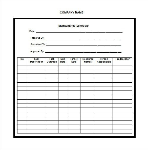 Vehicle Maintenance Schedule Template – 8+ Free Word, Excel, PDF ...