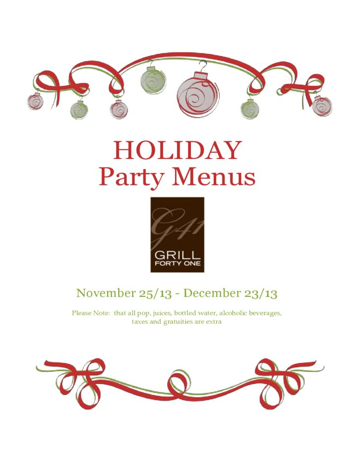 Sample Holiday Party Menu Free Download