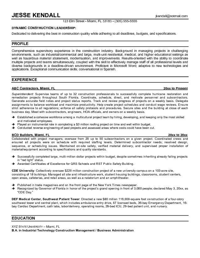 Construction Superintendent Resume | | jvwithmenow.com