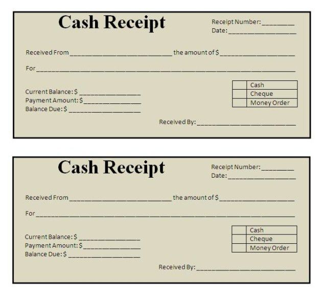 Classic Style Cash and Payment Receipt Template Sample : Helloalive