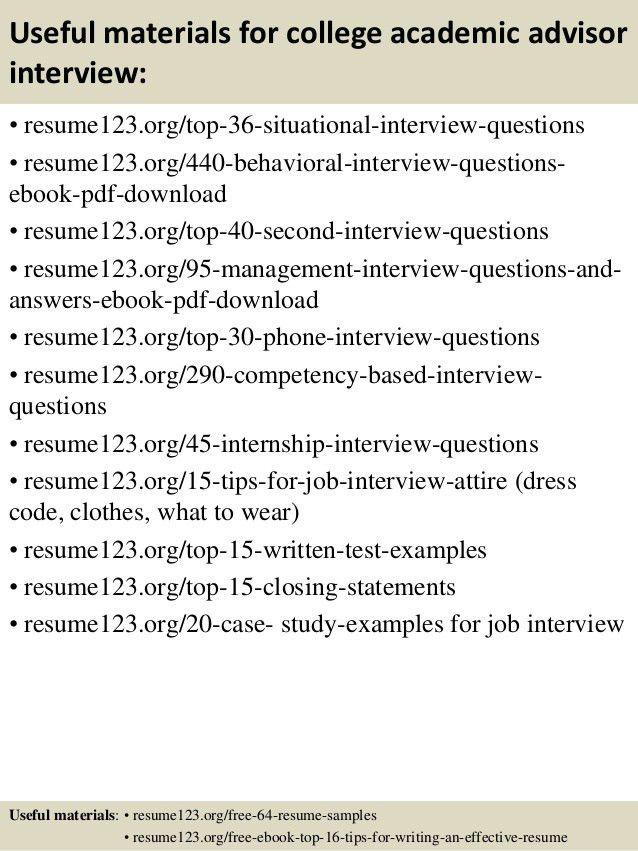 academic advisor resume samples