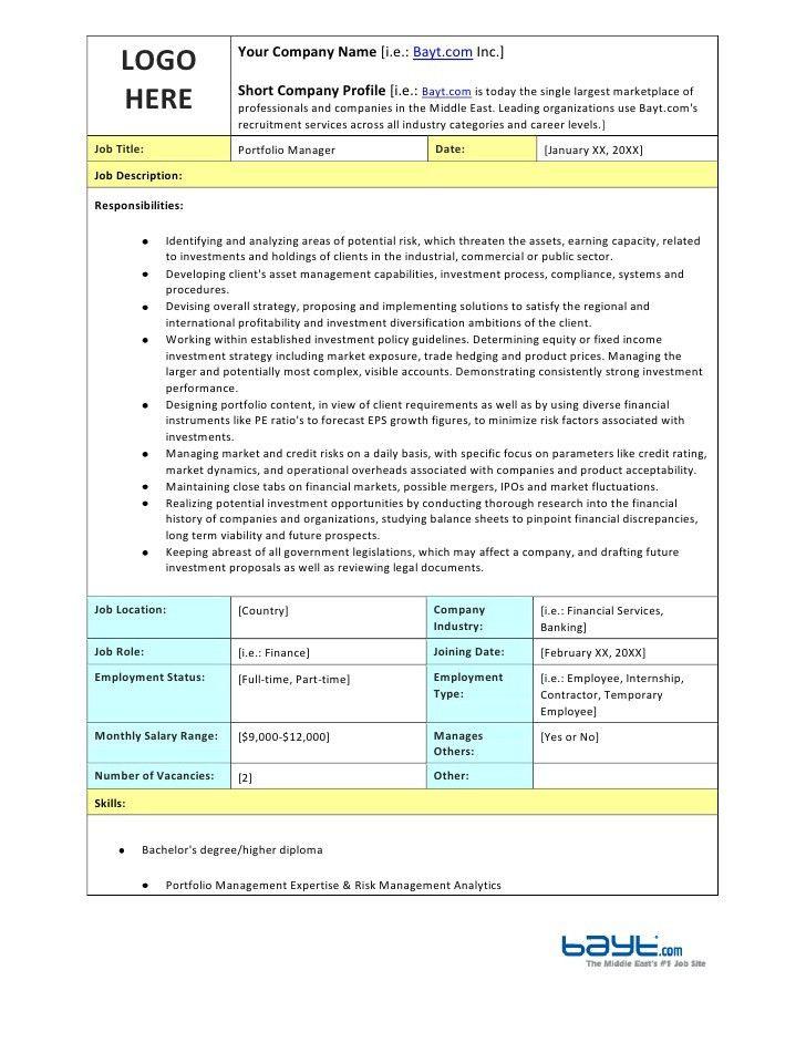 Portfolio Manager Job Description Template by Bayt.com