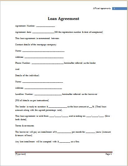 MS Word Loan Agreement Template | Word Document Templates