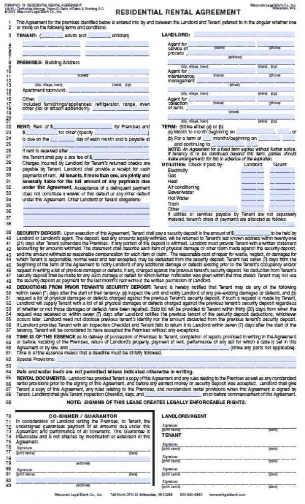 Free Wisconsin Residential Lease Agreement | PDF | Word (.doc)