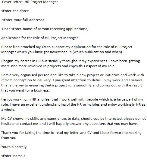HR Project Manager Cover Letter Example - icover.org.uk