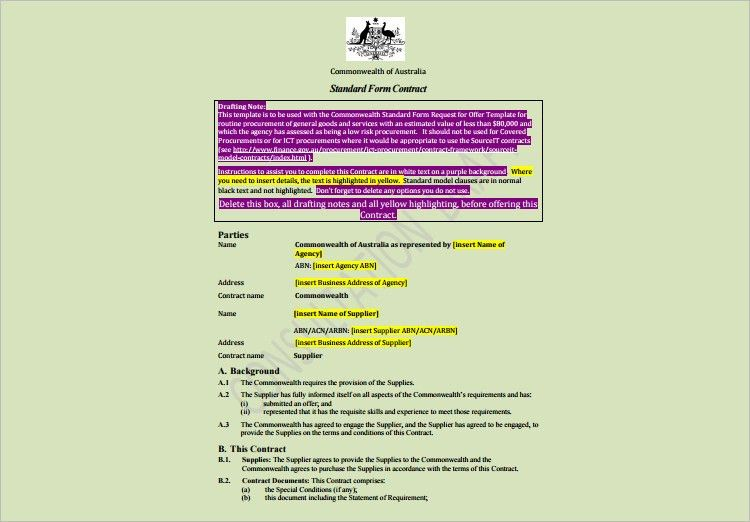 Contract Template - Free Word, PDF Documents Download | Creative ...