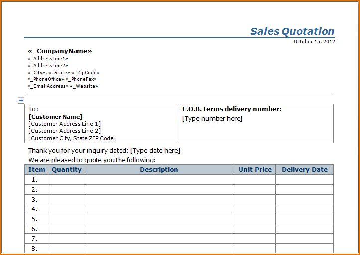 12+ quotation format | Job Resumes Word