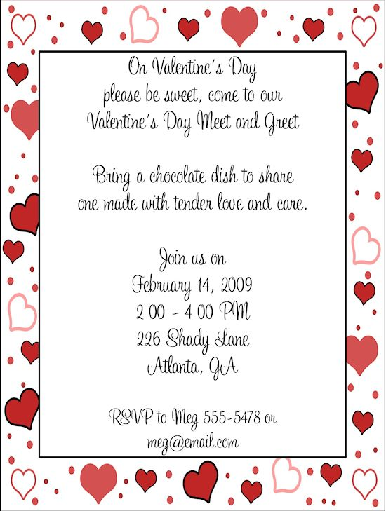 Meet and Greet Valentines Day Party Invitations