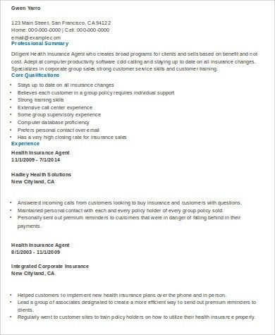 Sample Insurance Agent Resume - 9+ Examples in Word, PDF