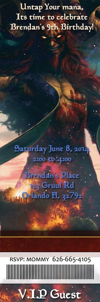 Novel Concept Designs - Magic the Gathering Birthday Party Ticket ...
