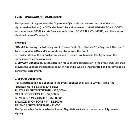 sponsorship agreement letter sample | Docoments Ojazlink