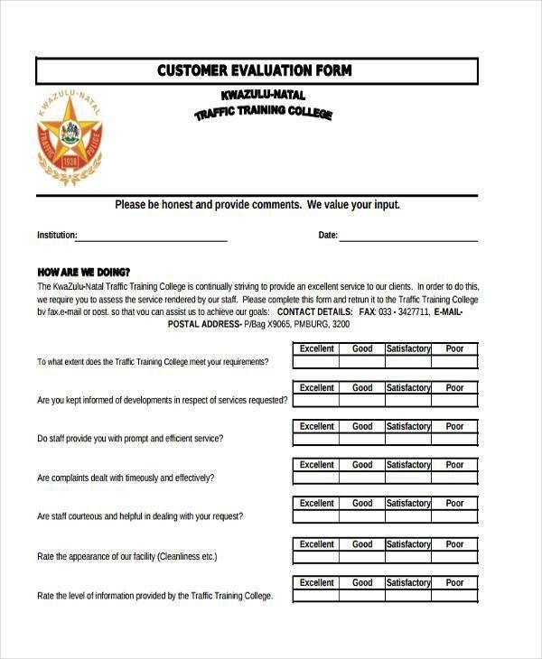 8+ Customer Evaluation Form Samples - Free Sample, Example Format ...