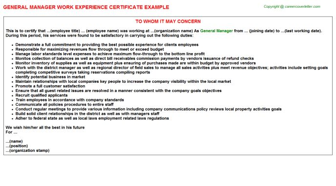 General Manager Work Experience Letters