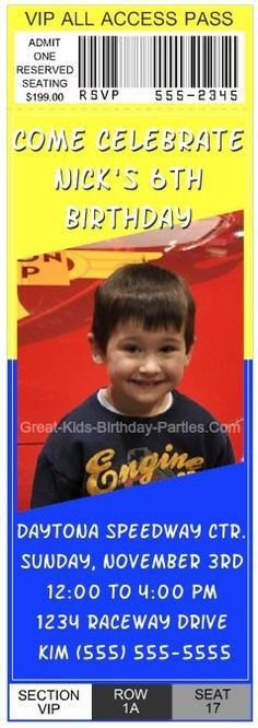 Cars : Cars Ticket #2 | Disney Cars Invitations | Pinterest | Cars ...