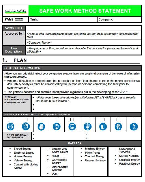 Safe Work Procedures Template. spcs safety platform cargo ...
