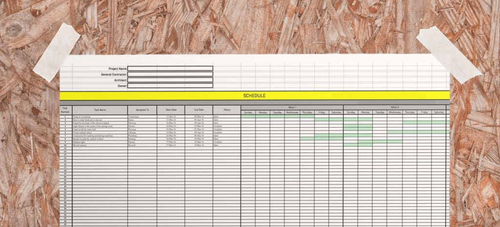 Construction Schedule Template - Free Excel Download
