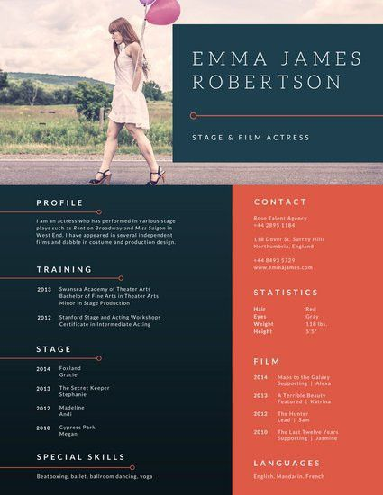 Blue Red Sophisticated Photo Border Acting Resume - Templates by Canva