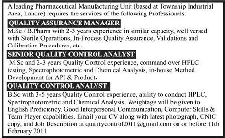 Quality Assurance Manage, Senior Quality Control Analyst and ...