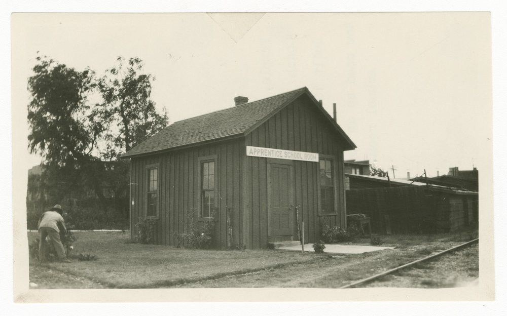 Atchison, Topeka & Santa Fe Railway Company's coach cleaner house ...