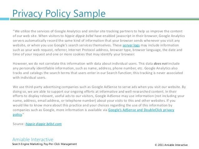 Privacy and Behavioral Targeting, Amiable Interactive