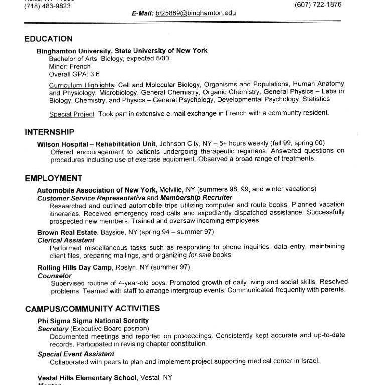 Endearing College Resume Examples Interesting - Resume CV Cover Letter