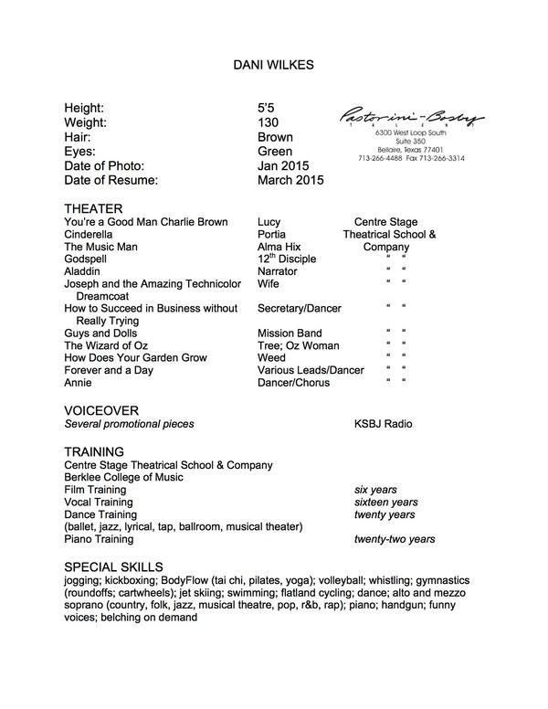 dance audition resume musical theatre resume template resume - Audition Resume Template
