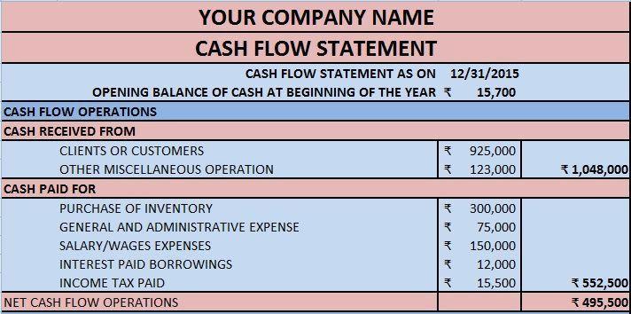 sample cash flow statement