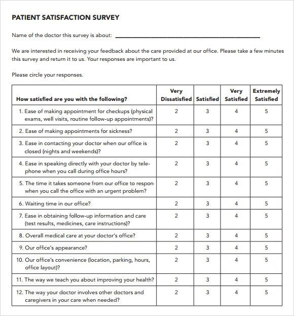 Beautiful Patient Satisfaction Survey   9+ Download Free Documents In PDF Nice Look