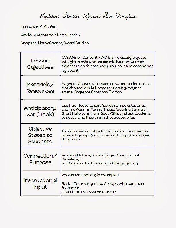 Madeline Hunter Lesson Plan Template | Template idea