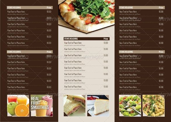 19+ Tri Fold Menu Templates – Free Sample, Example Format Download ...