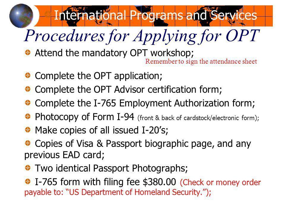Employment Authorization Form. 14 Procedures Opt Workshop Office ...
