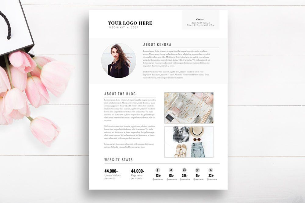 Media Kit Template 2 Page - Blogger Media Kit — By Stephanie Design