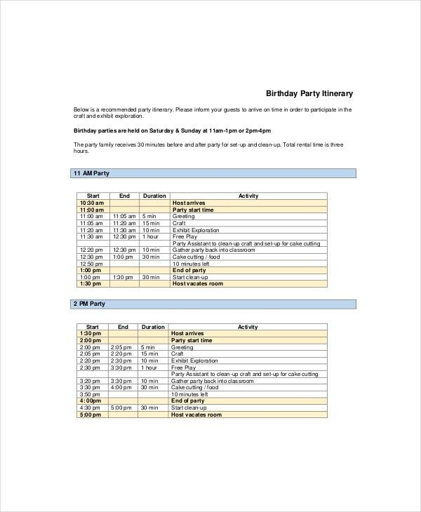 Party Itinerary Template - 8+ Free Word, PDF Documents Download ...