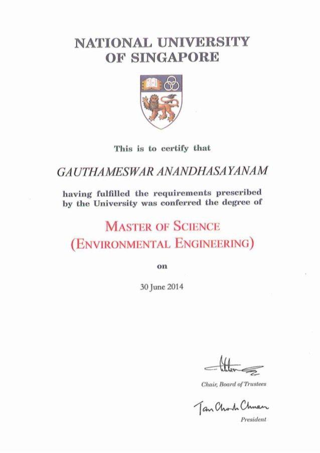 Master Degree Certification - Gauthameswar Anandhasayanam