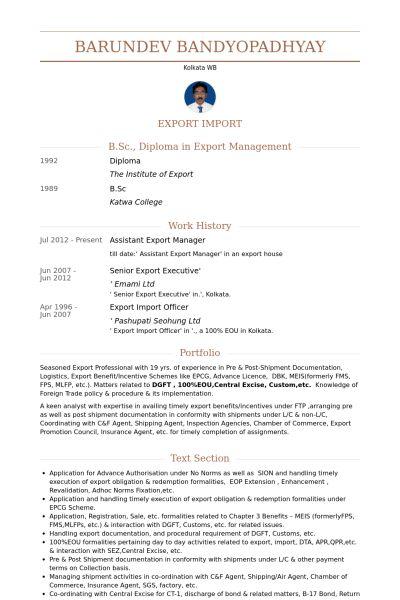 Export Manager Resume samples - VisualCV resume samples database
