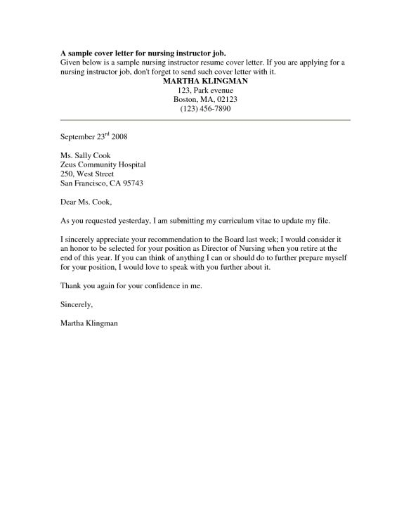 Professional A Sample Cover Letter for Nursing Instructor Job ...