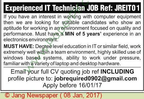 Experienced It Technician Jobs In Pakistan on 08 January, 2017 ...