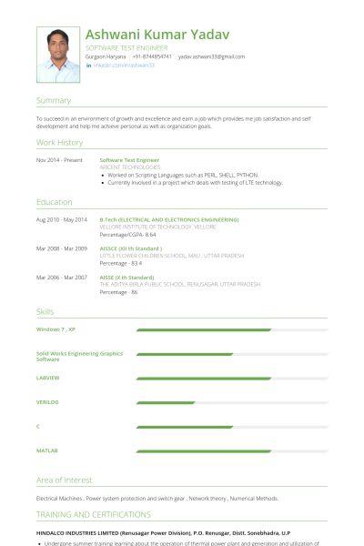 Software Test Engineer Resume samples - VisualCV resume samples ...