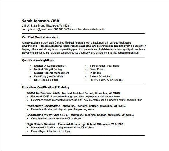 certified medical assistant resume sample. 14 medical assistant ...