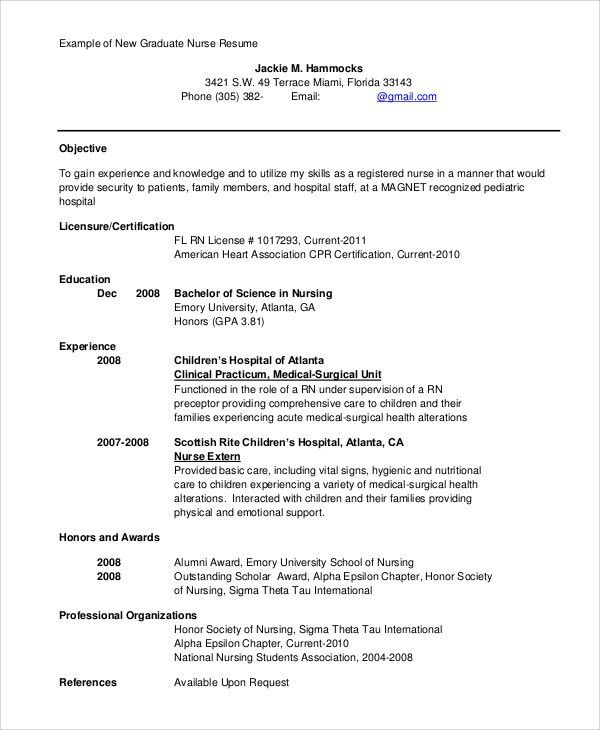 Sample Registered Nurse Resume - 9+ Examples in Word, PDF